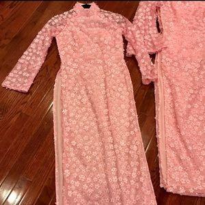 Dresses - Pink flower Ao Dai